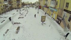 People with children walk by street Leningradskaya Stock Footage