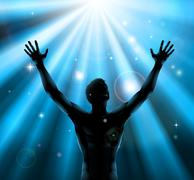 Spiritual man with arms raised up concept - stock illustration
