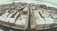 Panorama of coastal city with street traffic at winter day Stock Footage