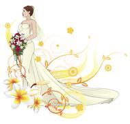 Bride beautiful wedding dress  floral background Stock Illustration