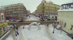 Crossroad with pedestrian street Leningradskaya Stock Footage