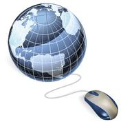 Mouse and globe Stock Illustration