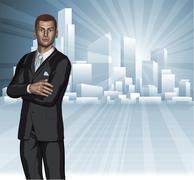 Confident young businessman city skyline concept Stock Illustration