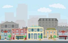 Urban street scene with smart townhouses - stock illustration