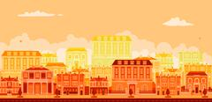Urban avenue scene with smart townhouses Stock Illustration