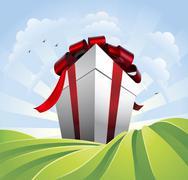 Stock Illustration of Giant gift in fields