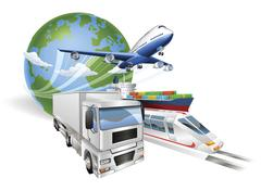 Global logistics concept airplane truck train ship Stock Illustration