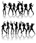 Beautiful women dancing silhouettes - stock illustration