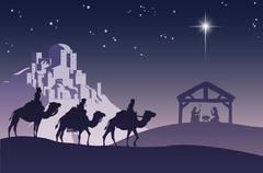 Christian Christmas Nativity Scene - stock illustration