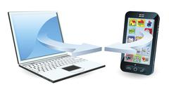 Laptop and smartphone communicating - stock illustration