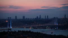 Time lapse of Istanbul Bosphorus Bridge in sunset Stock Footage