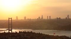 Istanbul Bosphorus Bridge in sunset Stock Footage