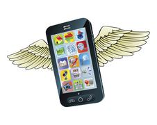 Smart mobile phone flying with wings Stock Illustration