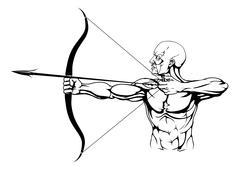 Black and white archer illustration - stock illustration