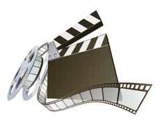 Film clapperboard and movie film reel - stock illustration