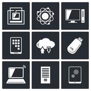 exchange of information technology icons set - stock illustration