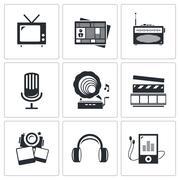 media icons set - video, news, music, tv, recording, photo - stock illustration