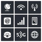 Communication and connection icons set Stock Illustration
