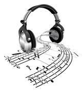 Kuulokkeet nuotteja toteaa käsite Piirros