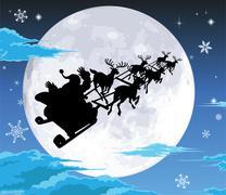 Santa in sled silhouette against full moon Stock Illustration