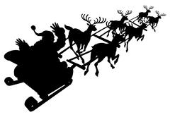 Santa in his Christmas sled or sleigh silhouette - stock illustration