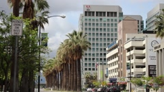 Adobe Downtown Building and Street View with Palm Trees - stock footage
