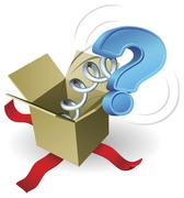 Jack in the box question mark concept - stock illustration