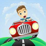 Young man driving fast classic car Stock Illustration