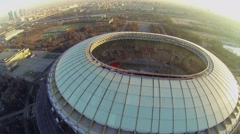 Cityscape with reconstruction of soccer stadium Luzhniki Stock Footage