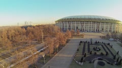 Square near football stadium Luzhniki at sunny day. Aerial view Stock Footage