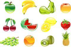 Gorgeous shiny fruit icon set Stock Illustration