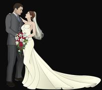 Bride and Groom - stock illustration