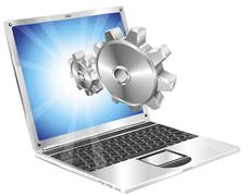 Stock Illustration of Gear cogs flying out of laptop screen concept