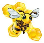 Cartoon bee with honeycomb Stock Illustration