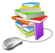 Book stack computer mouse Stock Illustration