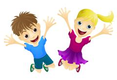 Happy children jumping in the air Stock Illustration