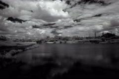 4K. InfraRed landscape: Movement of clouds over the reservoir. Donetsk, Ukraine, Stock Footage