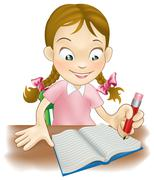 Young girl writing in a book Stock Illustration