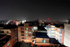 4K. Buildings with flats at night, timelapse. Kathmandu. Nepal, Ultra HD Stock Footage