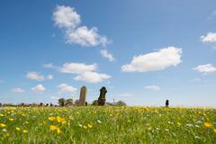 grave yard at dutch terschelling - stock photo