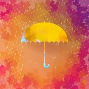 Umbrella and rain drops. EPS 10 - stock illustration