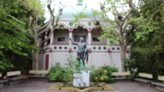 Egyptian Museum Artistic Statue with Trees Blurry Background Stock Footage