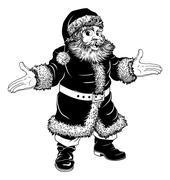 Black and white Christmas Santa Claus Stock Illustration