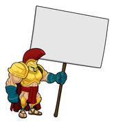 Tough Spartan or Trojan holding sign board - stock illustration