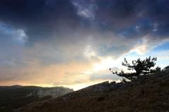 4K. Timelapse sunrise in the mountains Ai-Petri. Alupka, Crimea, Russia. - stock footage