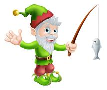 Garden gnome with fishing rod - stock illustration