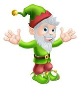 Garden gnome or elf - stock illustration