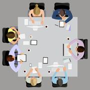 Business meeting in top view - stock illustration