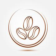 Brown coffee beans vector symbol Stock Illustration