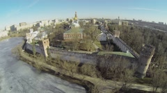 Cityscape with Novodevichiy Cloister enclosed with wall on shore Stock Footage